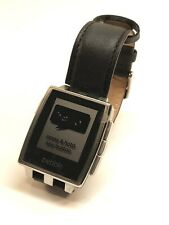 Pebble Steel Smartwatch 401S with Black Leather Band, Smart Watch