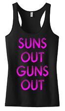WOMEN SUNS OUT GUNS OUT RACER BACK TANK TOP SHIRT CROSSFIT MOTIVATION WORK OUT
