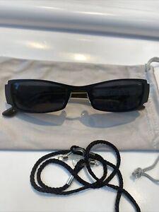 HUMPHREYS Sonnenbrille Front Metall Schwarz, Bügel Kunststoff Oliv , KuGlas Grau