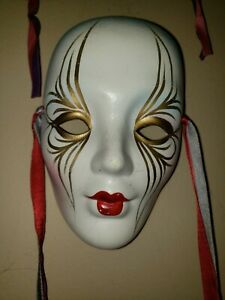 Ceramic Mask with Ribbons. New Orleans, LA Mardi Gras. Hand Painted.
