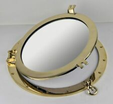 Nautical Tropical Imports 17 Inch Solid Brass Finish Wall Mount Porthole Mirror