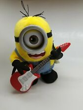 Despicable Me Minions Rock N Roll Stuart Singing Plush Toy w/ Red Guitar