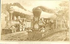 Vintage Black & White Train Litho photo of The Lighting Express Leaving Station
