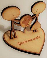 Mini wooden figurine 'My world' - anniversary/wedding/valentines flat-pack gift