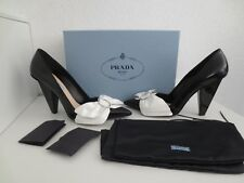 PRADA Pumps Gr.39,5 NERO+BIANCO Black Schwarz / Weiß Nero shoes Schuhe Leder