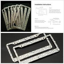 2pcs Car Front & Rear Rhinestones Diamond Crystal License Plate Frame Waterproof