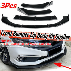 Glossy Front Bumper Lip Spoiler Splitter For Honda Civic RS FC 8/9/10TH GEN EG