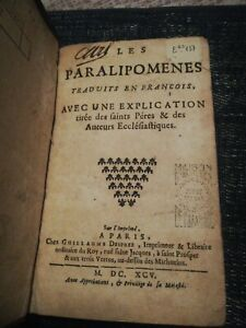 Les Paralipomenes 1695Traduits Livres Anciens XVIIème