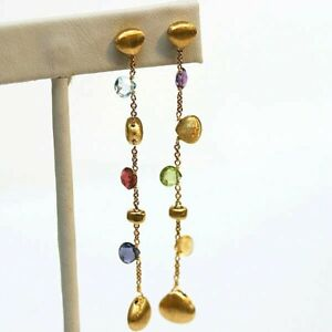 MARCO BICEGO NEW 18K Yellow Gold  Paradise Mixed Gemstones Chain Drop Earrings