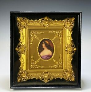 Antique Framed Hand Painted Italian Porcelain Plaque of Gypsy in Shadowbox