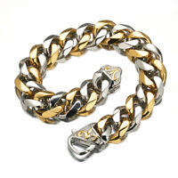Mens Silver Gold Bracelet Bangle Stainless Steel Curb Chain Rapper Jewelry 15mm