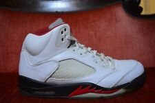 RARE Nike Air Jordan 5 V Retro White Fire Red Black Wolf Gray Size 13 136027-100
