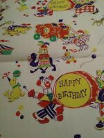 "VTG CIRCUS FUN HAPPY BIRTHDAY WRAPPING PAPER GIFT WRAP ONE SHEET UNUSED 15""X20"""