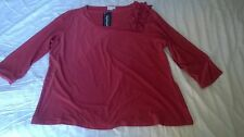 Long sleeved smart top by Nightingales - terracotta - size 20 NWT