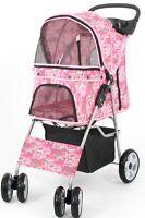 VIVO Four Wheel Pet Stroller Cat & Dog Folding Carrier Strolling Cart Pink Camo