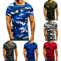 New Men's Summer O-Neck Tops Camouflage Casual Short Sleeve Shirt Slim Blouse