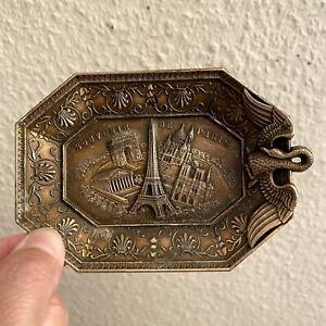 ✅ Schwan-Aschenbecher Metall ALT Vintage Souvenir De Paris 11,5x8cm Eifelturm