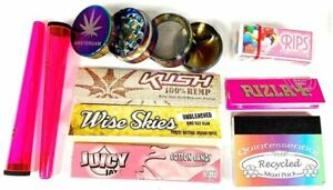 Pink Rolling Paper Amsterdam Rainbow Crusher Set - Juicy Jay Cotton Candy Rips