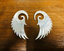 Fake Gauge Carved Shell Handmade Split Hook Exotic Earring Piercing Silver Bar