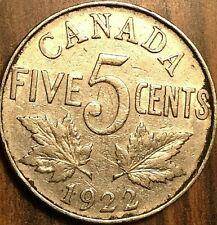 1922 CANADA 5 CENTS COIN