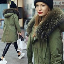 Winter Warm Womens Real Fur Collar Outwear Parka Jacket Overcoat Hooded  Coat
