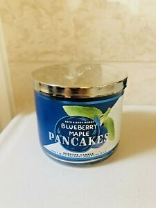 Bath & Body Works Blueberry Maple Pancakes Candle 3 Wick Scented 14.5 oz NEW