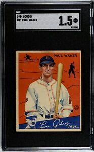 1934 Goudey Paul Waner #11 SGC 1.5 HOF