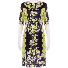 Erdem Exquisite Black Yellow Pink Rose Lace Print Silk Satin Dress UK8 IT40