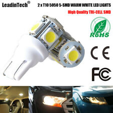 2x T10 LED Bulb Warm White 5050 5-SMD W5W Wedge Interior Dome Reading LED Lights