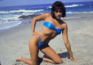 Vintage Photo Slide Woman Bikini Model Posed Sexy Ocean Beach 1985