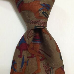 BRIONI Men's Silk Necktie ITALY Luxury MAN w/LIONS RINGS Brown/Orange NWT Rare