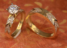 His And Hers Gold Engagement Rings And man Wedding Band Set