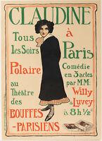 Original Poster - Faure L - Claudine in Paris Bouffes Parisiennes - Colette 1900