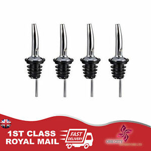4 x Stainless Steel Wine Pourers Bottle Stoppers Spouts Liquor Bar Oil Flow NEW