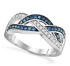 Diamond Ring Blue & White Diamond Band 10K Yellow Gold Twist Design .35ct