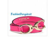 💝COACH Twin Signature Double Wrap Leather  Bracelet 99792 Pink Ruby