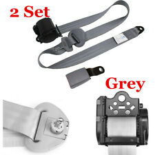 2x Adjustable Seat Belt Car Truck Belt Lap Universal 3 Point Safety Travel Grey