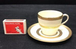 "1927 ROYAL DOULTON ELEGANT COFFEE DEMI TASSE ""ROYAL GOLD"" EMBOSSED GILDED BANDS"