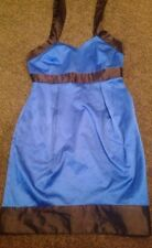 Gorgeous Bright Blue And Black Satin Look Dress From Asos Size 8