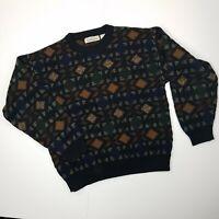 Vintage Natural Issue Mens Crewneck Sweater Medium Geometric Cosby Grandpa 80's