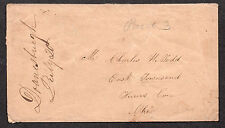 "**US Stampless Cover, Doanesburgh, NY 7/20 M/S Cancel ""Paid 3"" to C. Todd, Ohio"