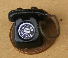 1:12 Scale Black Old Style Telephone Dolls House Miniature Accessory Phone