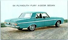 1964 PLYMOUTH FURY Postcard 4-DOOR SEDAN Automobile Car Advertising - Unused