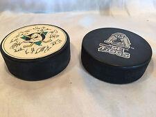1 Long Beach Ice Dogs Minor League/K-Earth 101 And 1 Anaheim Ducks Hockey Pucks