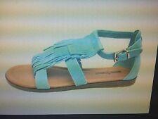 NEW Minnetonka MAUI Fringe Strappy Sandal Aqua Flat Sole Turquoise Size 5