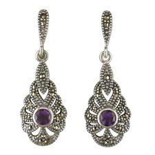 Sterling Silver Earring Fancy amethyst/marcasite drop