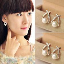 Pearl Ear Stud Earrings Jewellery High Fashion Women Elegant Crystal Rhinestone