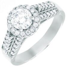 GIA Certified Round Cut Diamond Engagement Ring 18k White Gold  1.54 carat