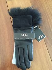 NWT Ugg Tech Quinn Gloves Leather Shearling Trim Toscana Black Size Small