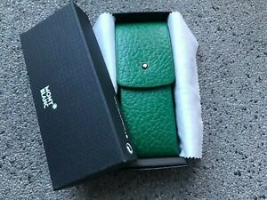MONTBLANC VINTAGE LEATHER POUCH / ETUI OBLONG FOR 3 PENS APPLE GREEN